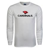 White Long Sleeve T Shirt-Cardinals w/ Cardinal Head