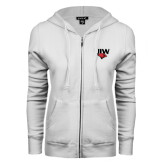 ENZA Ladies White Fleece Full Zip Hoodie-UIW Cardinal Head Stacked