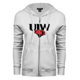 ENZA Ladies White Fleece Full Zip Hoodie-UIW Cardinal Head Stacked
