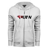 ENZA Ladies White Fleece Full Zip Hoodie-Cardinal Head UIW