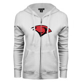 ENZA Ladies White Fleece Full Zip Hoodie-Cardinal Head