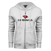 ENZA Ladies White Fleece Full Zip Hoodie-Cardinals w/ Cardinal Head