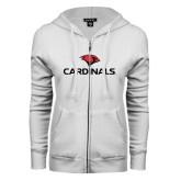 ENZA Ladies White Fleece Full Zip Hoodie-Cardinals w/ Cardinal Head