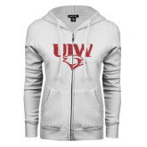 ENZA Ladies White Fleece Full Zip Hoodie-UIW Cardinal Head Stacked Red Glitter