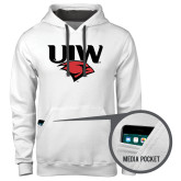 Contemporary Sofspun White Hoodie-UIW Cardinal Head Stacked