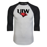 White/Black Raglan Baseball T-Shirt-UIW Cardinal Head Stacked