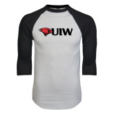 White/Black Raglan Baseball T-Shirt-Cardinal Head UIW