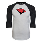 White/Black Raglan Baseball T-Shirt-Cardinal Head