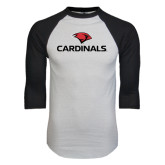White/Black Raglan Baseball T-Shirt-Cardinals w/ Cardinal Head
