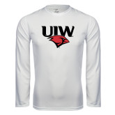 Performance White Longsleeve Shirt-UIW Cardinal Head Stacked