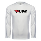 Performance White Longsleeve Shirt-Cardinal Head UIW