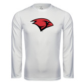 Performance White Longsleeve Shirt-Cardinal Head