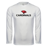 Performance White Longsleeve Shirt-Cardinals w/ Cardinal Head