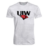 Next Level Heather White Tri Blend Crew-UIW Cardinal Head Stacked