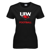 Ladies Black T Shirt-Football