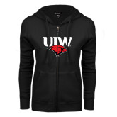 ENZA Ladies Black Fleece Full Zip Hoodie-UIW Cardinal Head Stacked