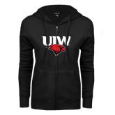ENZA Ladies Black Fleece Full Zip Hoodie-UIW Cardinal Head Stacked