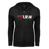 ENZA Ladies Black Fleece Full Zip Hoodie-Cardinal Head UIW