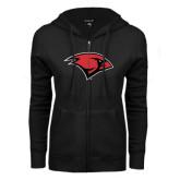 ENZA Ladies Black Fleece Full Zip Hoodie-Cardinal Head
