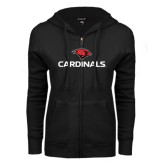 ENZA Ladies Black Fleece Full Zip Hoodie-Cardinals w/ Cardinal Head