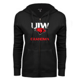 ENZA Ladies Black Fleece Full Zip Hoodie-Grandma
