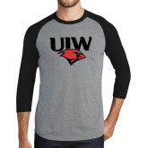 Grey/Black Tri Blend Baseball Raglan-UIW Cardinal Head Stacked