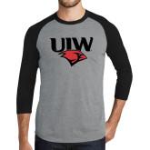 Grey/Black Tri Blend Baseball Raglan-UIW Cardinal Head Stacked