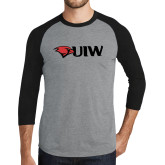 Grey/Black Tri Blend Baseball Raglan-Cardinal Head UIW