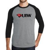 Grey/Black Tri Blend Baseball Raglan-Cardinal Head UIW
