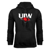 Black Fleece Hoodie-UIW Cardinal Head Stacked