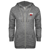 ENZA Ladies Grey/Black Marled Full Zip Hoodie-UIW Cardinal Head Stacked