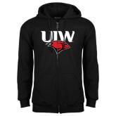 Black Fleece Full Zip Hoodie-UIW Cardinal Head Stacked