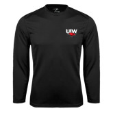 Performance Black Longsleeve Shirt-UIW Cardinal Head Stacked