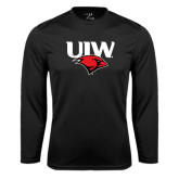 Syntrel Performance Black Longsleeve Shirt-UIW Cardinal Head Stacked