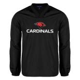 V Neck Black Raglan Windshirt-Cardinals w/ Cardinal Head