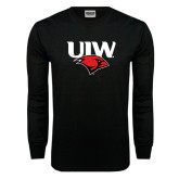 Black Long Sleeve TShirt-UIW Cardinal Head Stacked