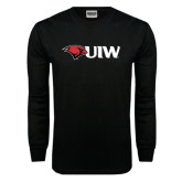 Black Long Sleeve TShirt-Cardinal Head UIW