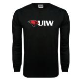 Black Long Sleeve TShirt-Cardinal Head UIW