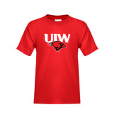 Youth Red T Shirt-UIW Cardinal Head Stacked
