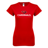 Next Level Ladies SoftStyle Junior Fitted Red Tee-Cardinals w/ Cardinal Head