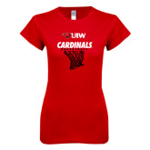 Next Level Ladies SoftStyle Junior Fitted Red Tee-Basketball Hanging Net