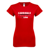 Next Level Ladies SoftStyle Junior Fitted Red Tee-Football Field