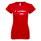Next Level Ladies SoftStyle Junior Fitted Red Tee-Volleyball with Ball