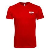 Next Level SoftStyle Red T Shirt-UIW Cardinal Head Stacked