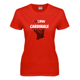 Ladies Red T Shirt-Basketball Hanging Net