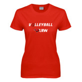 Ladies Red T Shirt-Volleyball with Ball