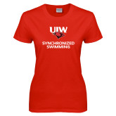 Ladies Red T Shirt-Synchronized Swimming