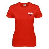 Ladies Red T Shirt-UIW Cardinal Head Stacked