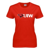 Ladies Red T Shirt-Cardinal Head UIW