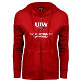 ENZA Ladies Red Fleece Full Zip Hoodie-Synchronized Swimming